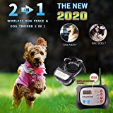 2-in-1 System of Wireless Dog Fence & Remote Electric Training Collar, Safe Containment Dog Wireless Fence, Adjustable Control Range 1000 Feet, Rechargeable Waterproof Reflective Collar (Black)