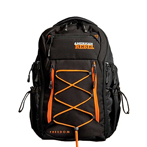 Tactical Concealed Carry Durable Backpack - Medium Black/Orange Freedom Bag for Every Day Use - American Rebel Inc.