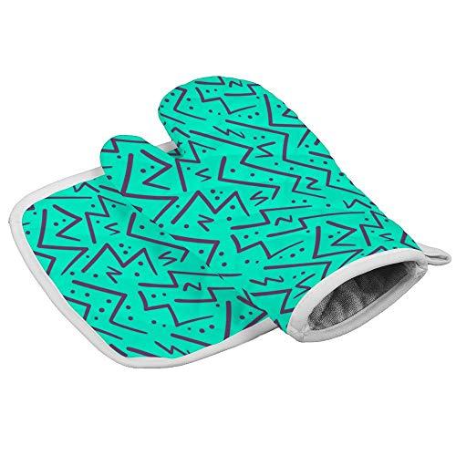 Juego de manoplas y soportes para ollas, diseño abstracto, color morado sobre azul zig zag sin costuras, guantes de horno, resistentes al calor, guantes de cocina, resistentes al calor, guantes de cocina para mujeres