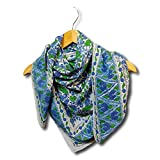 Large Cotton Scarfs for Women Lightweight Soft Sheer Neck Scarf, Head Scarf, Block Print Summer Floral Scarf, Bandanas for Women, Handmade Blue Fashion Scarf Square Shawl Stole Wrap 42 x 42 inches