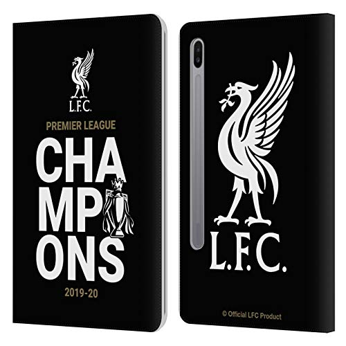 Official Liverpool Football Club Black Typography 2020 Champions PU Leather Book Wallet Case Cover Compatible For Samsung Galaxy Tab S6 (2019)