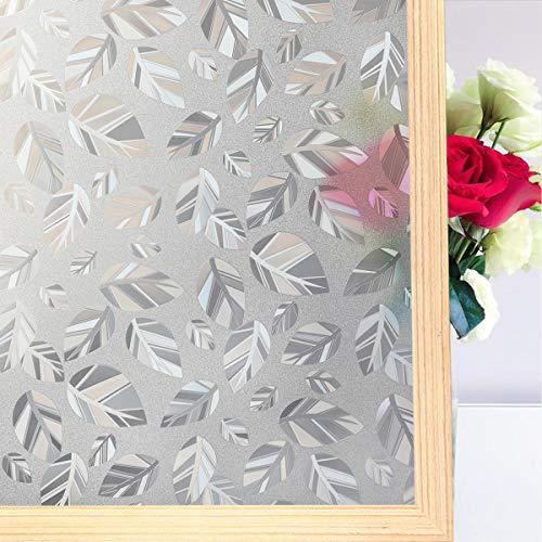 Coavas Sichtschutz-Fensterfolie, Nicht klebend, Milchglasfolie, statische Haftung, kein Klebstoff, Blickdicht, UV-beständig, weiße Blätterdekoration für Zuhause, Schlafzimmer, Küche, 90 x 200 cm