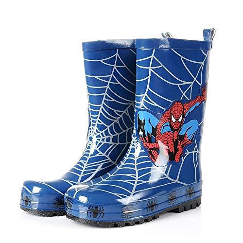 QHGao wasserdichte Spider-Man-Regenstiefel Für Kinder, Gummiregenstiefel Für rutschfeste Kinderschuhe Mit Einfach Zu Handhabenden Griffen, Lustigen Mustern Und Einfarbigen Regenstiefeln,30
