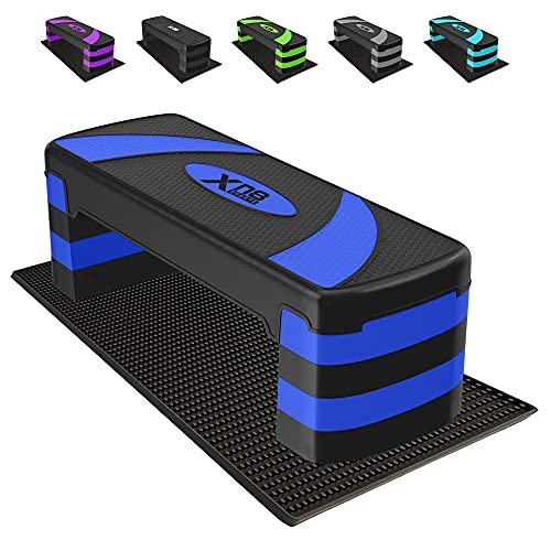 XN8 Stepper Aerobica Step Fitness - Regolabile 3 Altezze 10cm, 15cm, 20cm, 25cm Superficie Antiscivolo - Ideale Steppers per Ginnastica in casa, Allenamento, Allenamento Fitness (Blu)