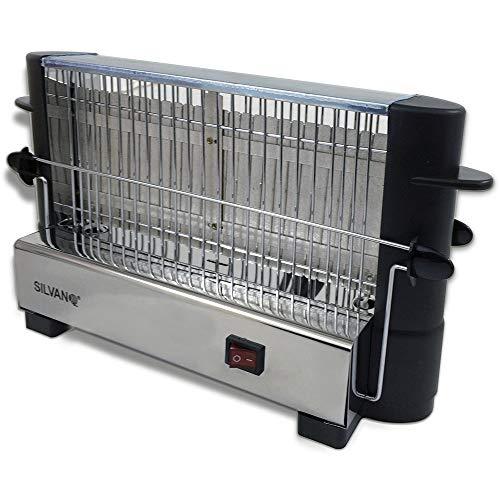 SILVANO Tostador Vertical de Acero Inoxidable - Potencia de 750W - con Cierre de Seguridad - para Cualquier Tipo de Pan - Fácil de Usar - Pequeños Electrodomésticos de Cocina