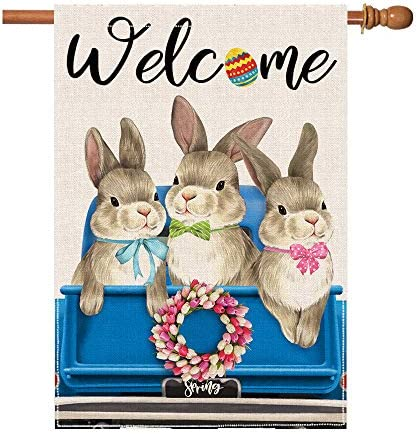 pinata Bunny Easter Flags 28 X 40 Double Sided Burlap Welcome Spring House Flag Happy Easter product image