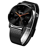 Quartz Watches for Men, Men's Wrist Watch, DOM Fashion Minimalist Waterproof Black Watches with Stainless Steel Mesh for Business