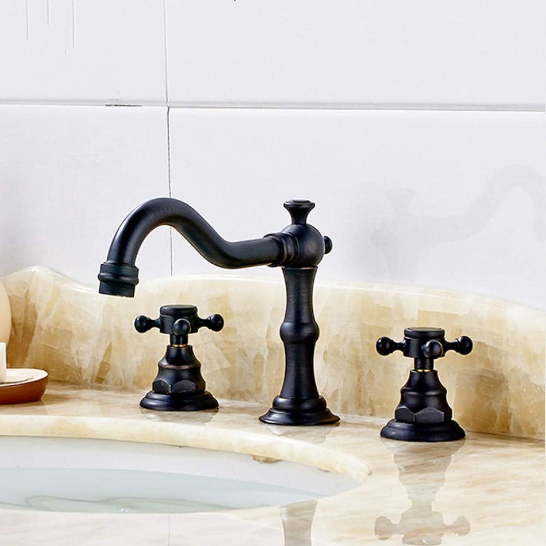 Lddpl Wasserhahn Deck Montiert Doppelgriff Schwarz Bad Wasserhahn, l Eingerieben Bronziert Waschtischarmaturen 3 Loch