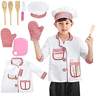 BeebeeRun Kids Chef Costume Role Play Kit Set,Halloween Activities Pretend Role Play Set with Cook Tools,Educational Cooki...