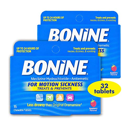 Non Drowsy Bonine for Motion Sickness with Meclizine Hydrochloride, 32 Count