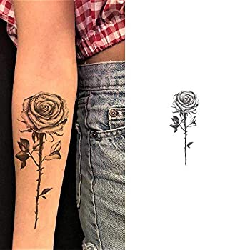 4 Sheets Rose Tattoo Sleeve Rose Temporary Tattoos Black Flower Tattoo Stickers For Women Men Party Masquerade
