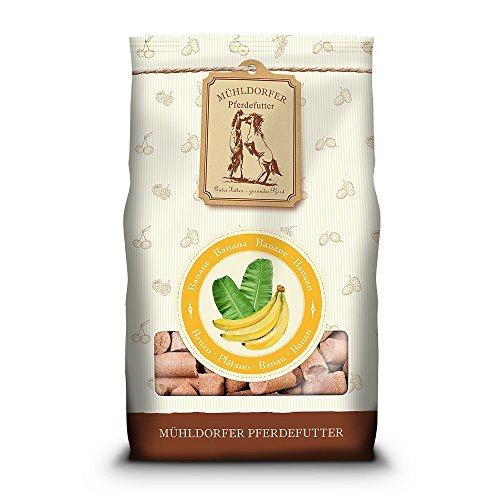 Mühldorfer Bananen Leckerli, 1 kg, Leckerlis für Pferde, fruchtiges Belohnungsfutter mit Banane, bröckeln, schmieren und kleben nicht