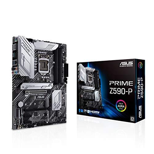ASUS PRIME Z590-P, Scheda madre Intel Z590 ATX con PCIe 4.0, 3x slot M.2, 11 fasi DrMOS, HDMI, DP, Lan 2.5 Gb, USB 3.2 Gen 2x2 Type-C, supporto Thunderbolt 4, Aura Sync RGB