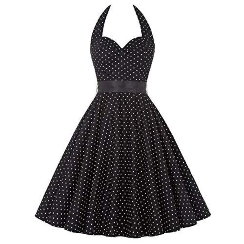YWSZJ Frauen drucken Sommerkleid Sexy Retro Halfter Vintage Kleid Robe Party Kleid (Color : A, Size : M Code)