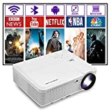 Smart Home Theater Projector 2021 HD Wireless Bluetooth Movie Projectors with Android Wifi HDMI USB Audio Zoom Support 1080P Compatible for Smartphone Tablet Laptop TV Stick DVD PC Gaming Consoles