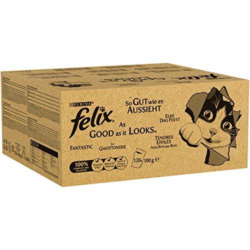 """Felix, mangime per Gatto """"Le ghiottonerie"""", in Gelatina con Manzo, Pollo, merluzzo e tonno (120x Sacchetti da 100g)"""
