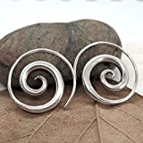 Sterling Silver Simple Spiral Earrings, Handmade Minimalist Rustic Tribal Thick Swirl Hoop for Women or Men, 7/8 inches Medium size Coil Earrings