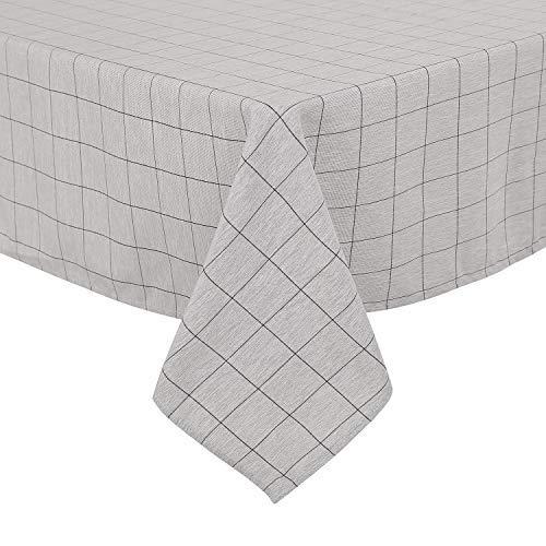 Deconovo, tafelkleed, linnenlook, waterafstotend, eetkamer, polyester, zwart wit, 130 x 220