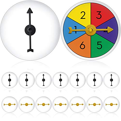 16 Pieces Transparent Game Spinners DIY Six-Color Spinners Write On/ Wipe Off Surface for School Season and Party Games, Yellow and Black