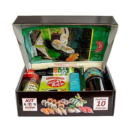 Kit para hacer SUSHI. Caja regalo original con 10 ingredientes y utensilios.