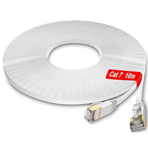 GLCON LAN Kabel 10meter - Cat 7 Netzwerkkabel Hochgeschwindigkeits 100/1000/10000Mbit/s Kompatibel mit Cat.5e Cat.6 Cat.7 RJ45 Ethernet Kabel für PS5/PS4 Switch Router Modem Patch-Panel Weiß