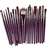 KOLIGHT Set of 20pcs Cosmetic Makeup Brushes Set Powder Foundation Eyeliner Eyeshadow Lip Brush for Beautiful Female (Purple+Coffee)
