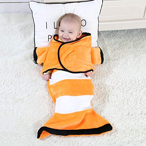 ZHANGYY Cartoon baby blanket, flannel baby, baby shark wrapped blanket, mermaid sleeping bag, orange clownfish, 33X70cm