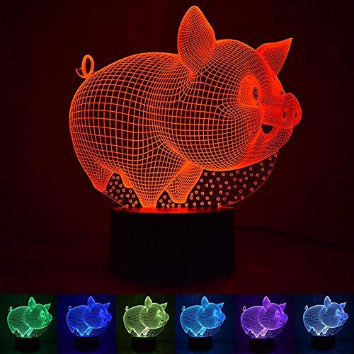 Illusion 3D Cochon Veilleuse 7 Couleurs, USB alimenté Eclairage LED Petite Lampe de Table, Éclairage de Chambre d'enfants décoration Halloween/Vacances/Cadeaux d'anniversaire