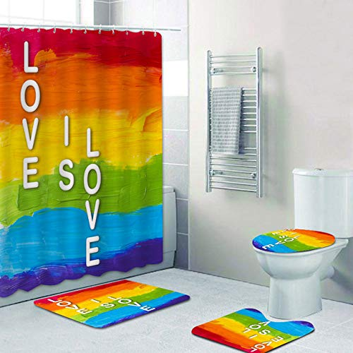 Fashion_Man 16PCS/Set Colorful Rainbow Shower Curtain Polyester Bath Curtain Waterproof Bathtub Curtains Bath Mat Toilet Rug Gay Pride Lesbian Peace LGBT Bathroom Decor, 72'x72',+Hooks, Love is LVOE