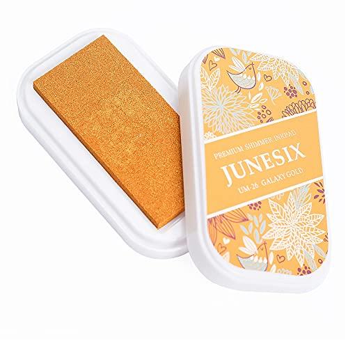 Almohadilla de tinta de pigmento metálico, almohadillas de tinta lavables para niños, almohadillas de tinta para manualidades Shimmer Scrapbook para sellos de goma, 9,4 x 5,3 cm (dorado)