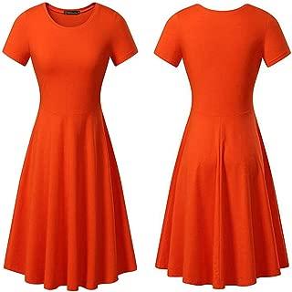 Women's T-Shirt Dress Loose Short Sleeve Round Neck Summer Casual Flared Midi Dress