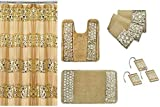 Popular Bath 7 Piece Sinatra Sequins Shower Curtain, Resin Hooks, Towels and Rugs Set, Champagne Gold