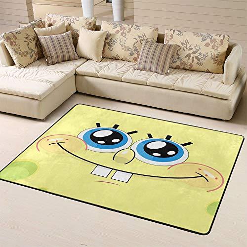 Zmacdk Alfombra de Bob Esponja para sala de estar, camping, alfombra fácil de limpiar para niños, sala de juegos, dormitorio, 6 x 8 pies (180 x 240 cm), Bob Esponja