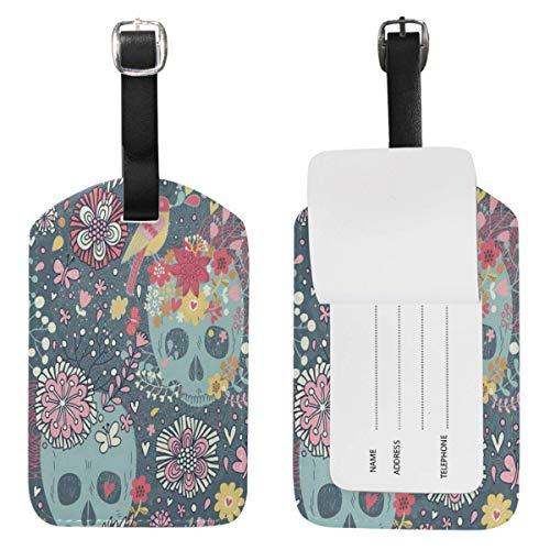 Etiquetas de equipaje de calavera, diseño de flores, de pájaro, bolsa de viaje de cuero, etiquetas de identificación de maleta,
