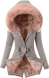 Women Coat Winter Warm Thick Windbreaker Long Jacket Hooded Fur Collar Overcoat