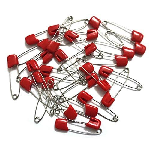 20 Stück Baby-Sicherheitsnadeln 4 cm Plastikkopf Stoffwindel Windelstifte mit Verschlussstiften von BelongsU, Rot
