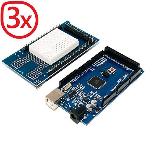 AZDelivery 3 x Mega 2560 R3 Bundle mit Prototype Shield für Arduino Mega 2560 R3