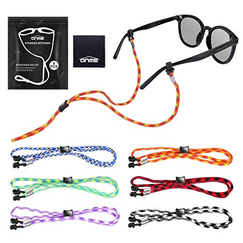 Eyeglass Chains, ONME Adjustable Eyewear Retainer, Universal Fit Rope Eyewear Retainer, Sports Unisex Sunglasses Retainer Holder Strap, Colorful Glasses Holder, Set of 6 Pack for Men and Women
