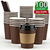 Eupako 8 oz Disposable Paper Coffee Cups with Lids, Sleeves and Straws, to Go Coffee Cup, 100 Count Brown