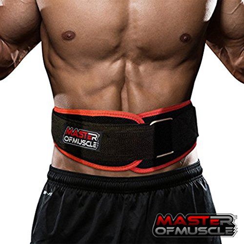 Master of Muscle Workout Weight Lifting Belt for Men and Women - Contoured and Neoprene Lightweight for Comfortable Back Support - Ideal for Squat, Powerlifting, Deadlift Training (Small)