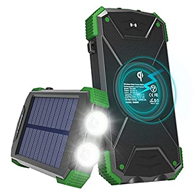 Solar Charger with Qi Wireless Charging, Fojojo...
