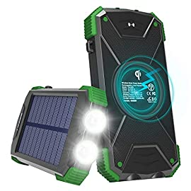 Solar Charger with Qi Wireless Charging, Fojojo 10000mAh Solar Phone Charger with 2.1A Input/Output, Waterproof Outdoor… 9 【Qi Wireless Charging】The wireless power bank for cell phone compatibles with iPhone 11/XR/XS MAX/XS/X/8/8plus, Samsung Galaxy Note9, S9/S9+, Note8, S8/S8+, and all Qi-enabled devices. NOTE: Wireless charging requires the phone case thickness to be less than 6mm. 【Dual Fast Input & Large Solar Panel】This portable solar charger equiped with two high speed input ports: Micro USB port & Typec port(Both 5V/2.1A), can fully charge itself in 6-7 hours. NOTE: Solar panel charging is only for emergency use. Due to the current of solar is quite low, which would be different according to the sunlight in the reality, We suggest customers charge it via adapter before taking a trip. 【Large Capacity & Safety Ensurance】Built in 10,000mAh Li-Polymer battery, can fully charge iPhone 8 /iPad Air 2/Galaxy S8 for 4Times. Built-in Smart IC automatically protect you and your devices from overcharging, over-current, over-voltage and short circuit.