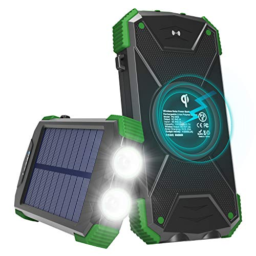 Solar Charger with Qi Wireless Charging, Fojojo 10000mAh Solar Phone Charger with 2.1A Input/Output, Waterproof Outdoor Portable Solar Power Bank with Strong Flashlight and Carabiner Compass