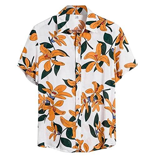 Mens Ethnic Short Sleeve Cotton Linen Print Men t Hawaiian Shirt Blouse Loose Beach Causal Shirts Retro Shirt Men Clothes