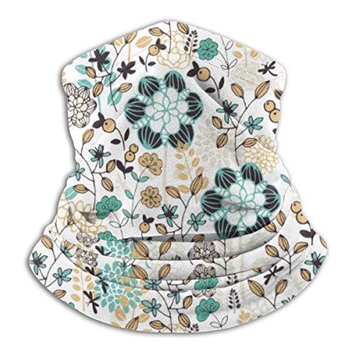 Aeykis Nahtloser Blumenmuster-Vektorbild-Halbgesichtsschal, winddichte Halsmanschette mit Gehörschutz
