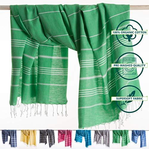 ANATURES Hamamtuch - Strandtuch 95x185cm Playa | Pre-Washed - Oeko-TEX® - Fairtrade - Gekämmte Bio Baumwolle | Saunatuch Badetuch Duschtuch Pestemal Fouta Pareo XL (Grun)