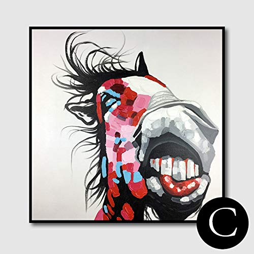 WunM Studio olieverfschilderij op canvas met de hand geschilderd, abstract schilderij, dier rood bonte lelijke paard, grote moderne kunst wanddecoratie voor woonkamer, woningen, inging, ingang, slaapkamer, kantoor 60 x 60 cm