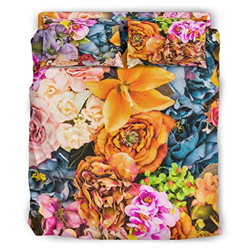 Colorful Flowers Bedding Duvet Cover Set Ultra Silky 4 Pcs Coverlet Set Duvet Cover Set with Pillow Shams and Bed Sheet White Full