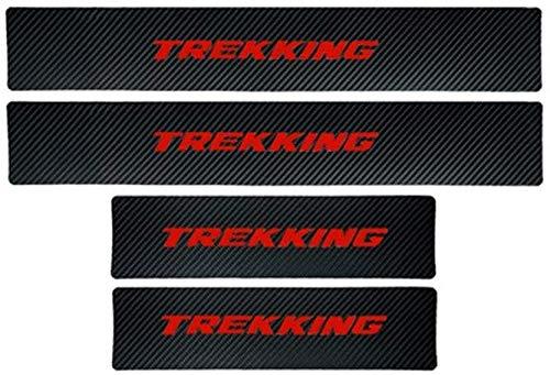 TQGG Türschwellenschutzplatte für FIAT Qubo Argo 500l Panda 500x Trekking, Kohlefaser Autotürschwellenschutz Willkommen Pedalplattenschutz Autozubehör, 4-TLG