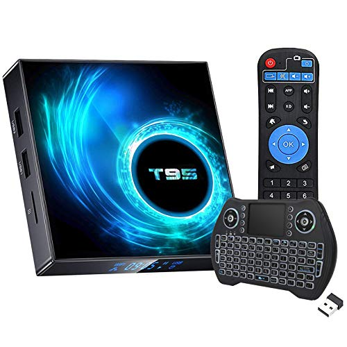 Android TV Box 10.0, Android Box 2GB Ram 16GB ROM Quad Core Media Player Dual WiFi 2.4G/5G Bluetooth 6K/4K/3D/ H.265 Smart TV Box with Mini Backlit Wireless Keyboard